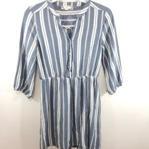Pink Rose Striped Shirt Dress Button Front Size S